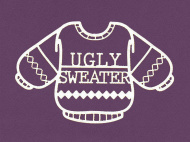Чипборд от ScrapBox — Свитер с надписью Ugly Sweater, 73x46 мм, 1 шт